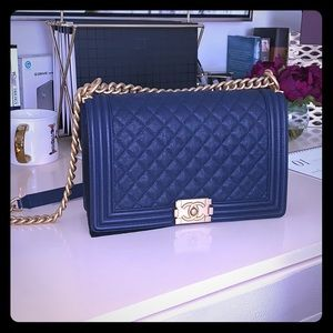 cf2ee8cece8b0c CHANEL Bags | Le Boy Medium Blue Navy Caviar Leather Bag | Poshmark